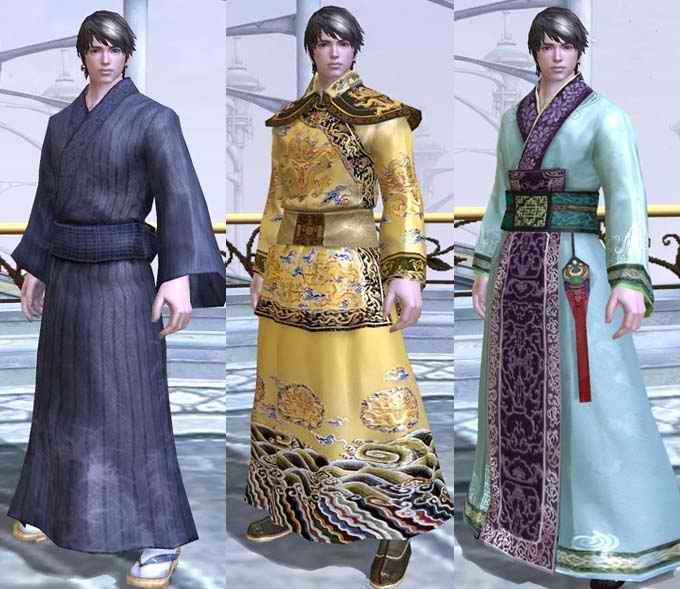 由左到右依序为日本和服,中国皇室服饰,中国古代传统服装图片